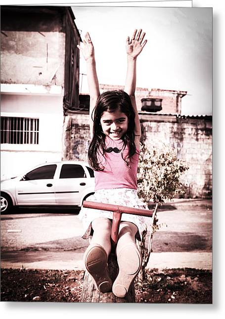 Playing Car Greeting Cards - Child on a Seesaw Greeting Card by Mountain Dreams