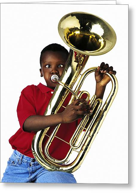 Playing Musical Instruments Greeting Cards - Child Playing Baritone Greeting Card by Ron Nickel