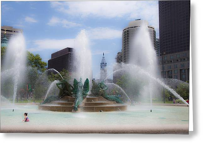 Playing Digital Greeting Cards - Child Playing in the Fountain in Philadelphia Greeting Card by Bill Cannon