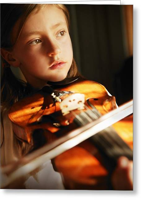 Young Albert Greeting Cards - Child Playing Violin Greeting Card by Con Tanasiuk