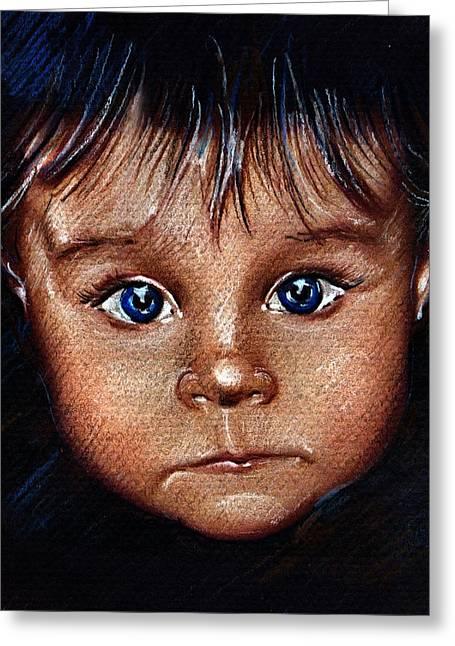 Child Portrait Greeting Card by Daliana Pacuraru