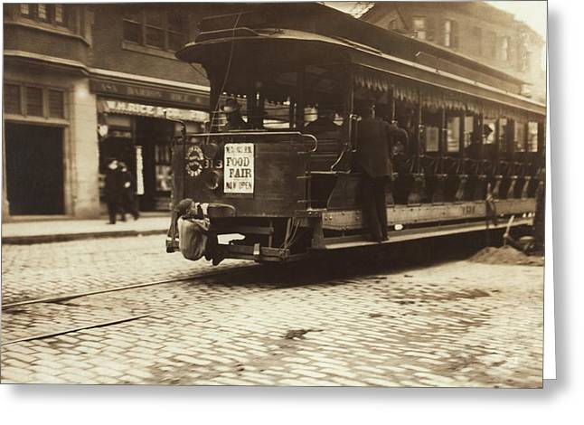 Sociology Greeting Cards - Child riding on a tram, Boston, 1909 Greeting Card by Science Photo Library