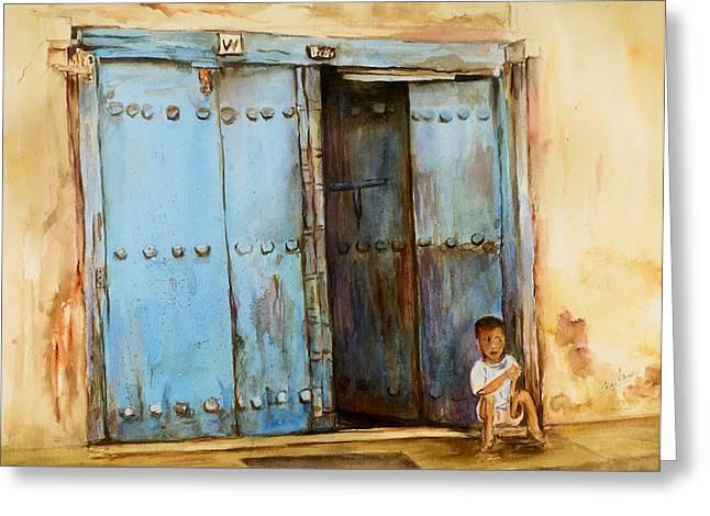 Child Sitting In Old Zanzibar Doorway Greeting Card by Sher Nasser