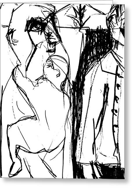 Straps Drawings Greeting Cards - Child Strapped to Parent Greeting Card by Anon Artist