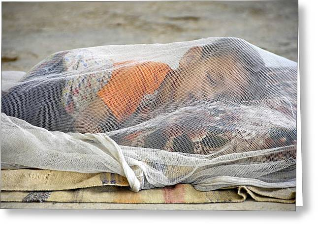 Iraq Greeting Cards - Child under mosqito net, Iraq Greeting Card by Science Photo Library