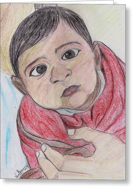 Cloth Pastels Greeting Cards - Child Greeting Card by Vineeth Menon