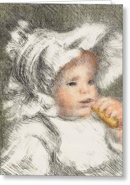Child With A Biscuit Greeting Card by Pierre Auguste Renoir