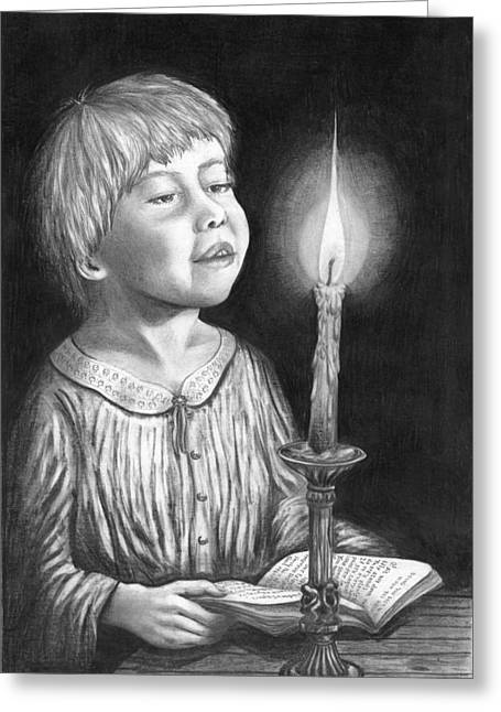 Candle Lit Drawings Greeting Cards - Child with Divine Mesmorization Greeting Card by Pierre Salsiccia