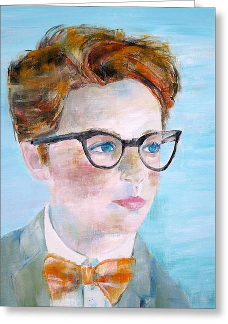 Little Boy Greeting Cards - CHILD with GLASSES Greeting Card by Fabrizio Cassetta