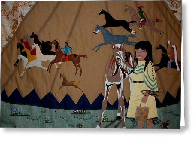 Americans Tapestries - Textiles Greeting Cards - Child with Pony Greeting Card by Linda Egland