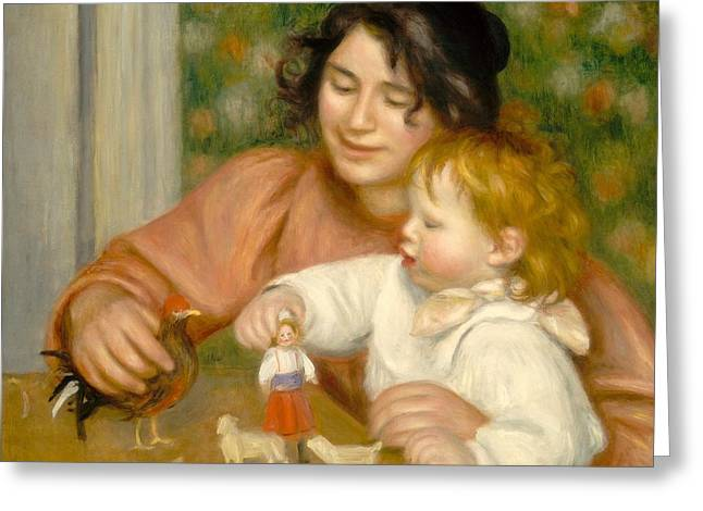 Love The Animal Paintings Greeting Cards - Child with Toys Gabrielle and the Artist s son Jean Greeting Card by Pierre Auguste Renoir