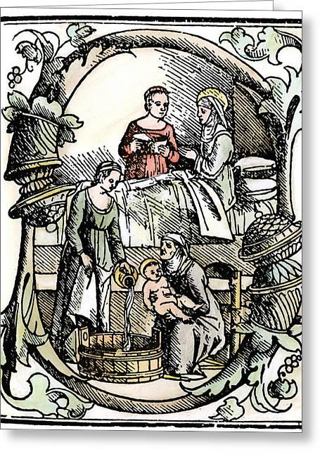Water Jug Greeting Cards - Childbirth, 1499 Greeting Card by Granger