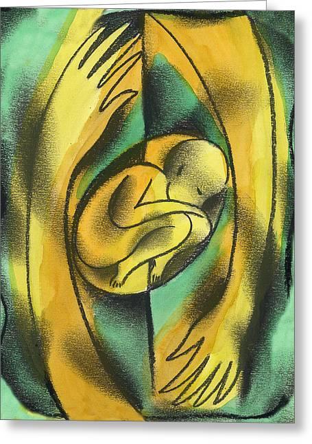 Childbirth Greeting Card by Leon Zernitsky