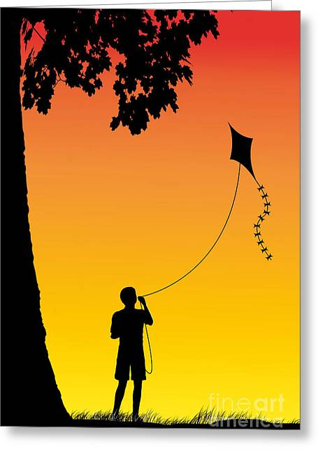 Innocence Child Digital Art Greeting Cards - Childhood dreams 1 The Kite Greeting Card by John Edwards