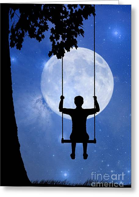 Innocence Child Digital Art Greeting Cards - Childhood dreams 2 The Swing Greeting Card by John Edwards