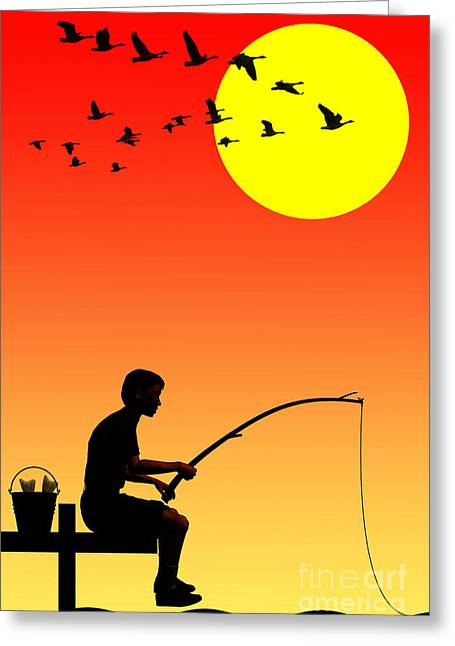 Childhood Greeting Cards - Childhood dreams 3 Fishing Greeting Card by John Edwards
