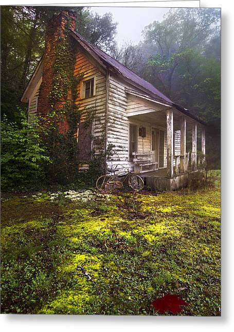 Old Cabins Photographs Greeting Cards - Childhood Dreams Greeting Card by Debra and Dave Vanderlaan