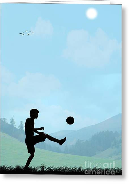 Innocence Child Digital Art Greeting Cards - Childhood Dreams Football Greeting Card by John Edwards