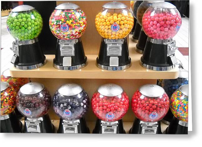 Bubble Gum Gumballs Gumball Machine Greeting Cards - Childhood Dreams Greeting Card by John Arthur Robinson