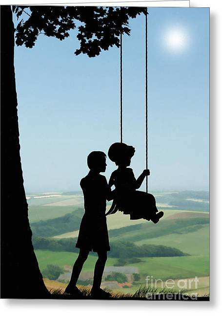 Childhood Greeting Cards - Childhood Dreams Push Me Greeting Card by John Edwards
