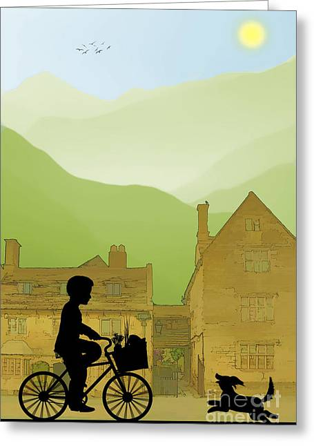Grocer Greeting Cards - Childhood Dreams Special Delivery Greeting Card by John Edwards
