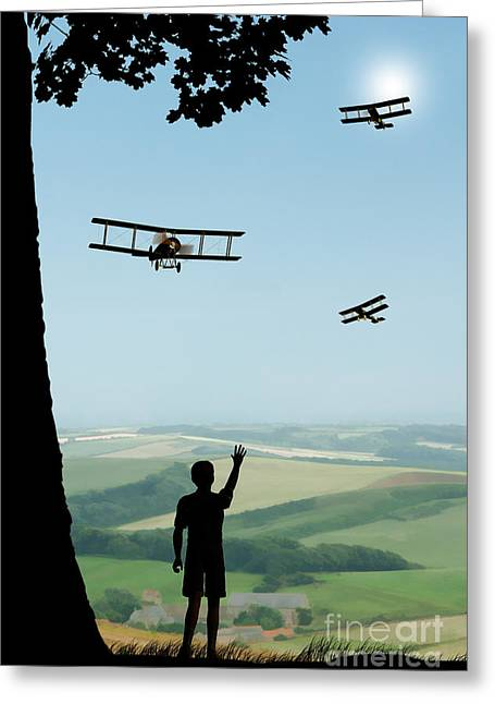 Wwi Greeting Cards - Childhood Dreams The Flypast Greeting Card by John Edwards
