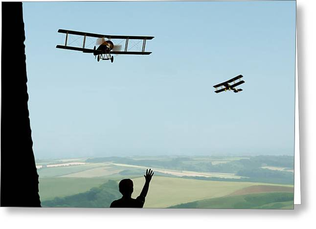 Childhood Dreams The Flypast Greeting Card by John Edwards