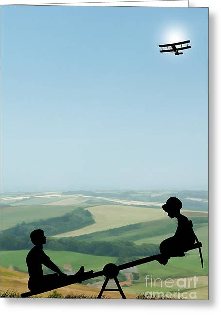 Wwi Digital Art Greeting Cards - Childhood Dreams The Seesaw Greeting Card by John Edwards