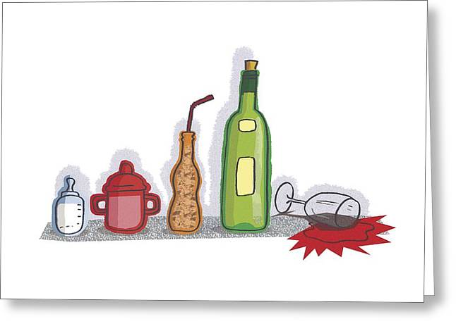 Strict Greeting Cards - Childhood drinking habits, artwork Greeting Card by Science Photo Library