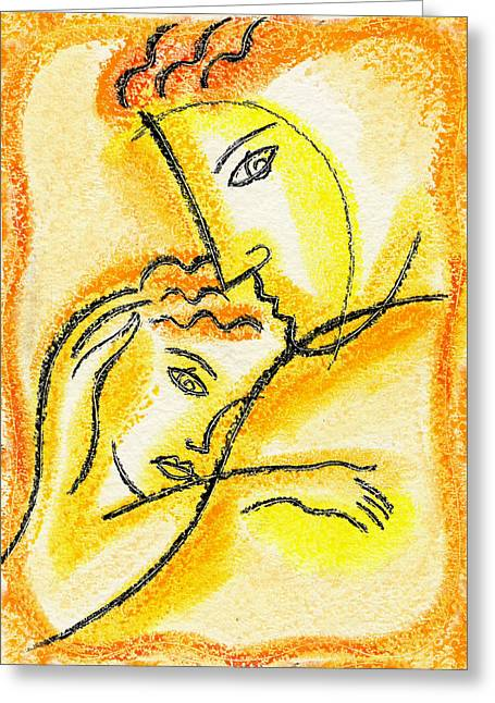 Caring Mother Paintings Greeting Cards - Childhood Greeting Card by Leon Zernitsky