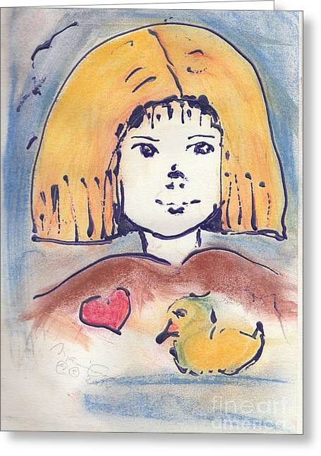 Ducklings Mixed Media Greeting Cards - Childhood Greeting Card by M Cordes