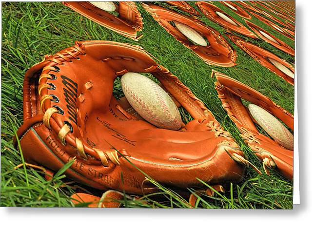 Baseball Glove Greeting Cards - Childhood memories Greeting Card by Geraldine Scull
