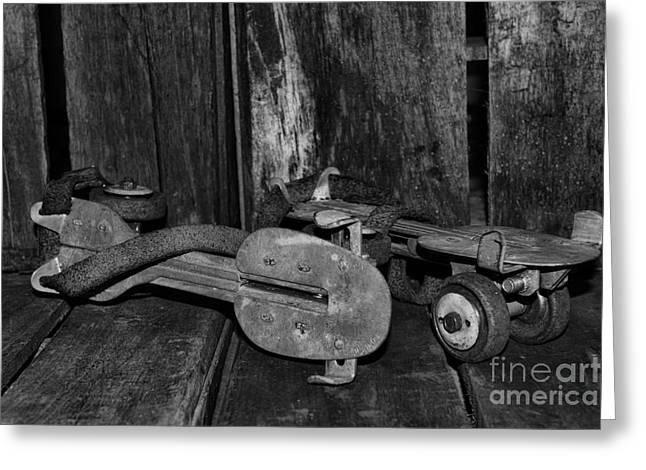 Roller Skates Greeting Cards - Childhood Memories in Black and White Greeting Card by Paul Ward