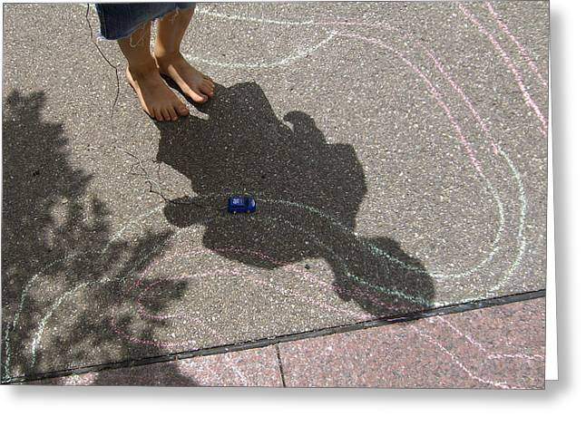 Playing Car Greeting Cards - Childhood - shadow of playing boy Greeting Card by Matthias Hauser