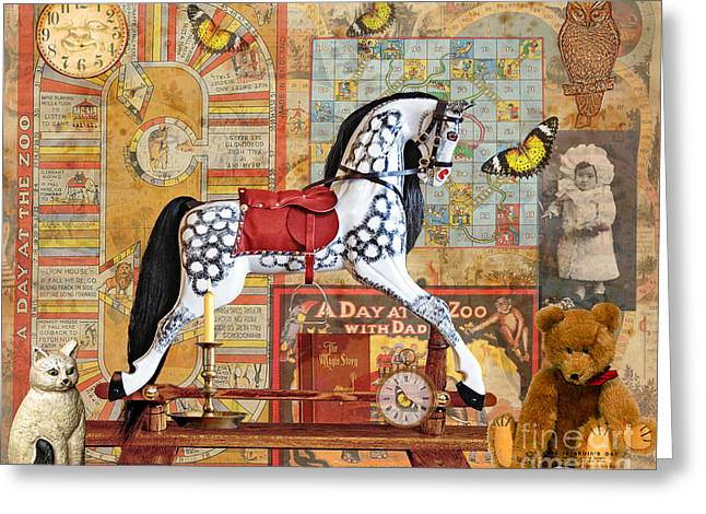 Rocking Horse Digital Greeting Cards - Childhood Treasures Greeting Card by Judy Wood