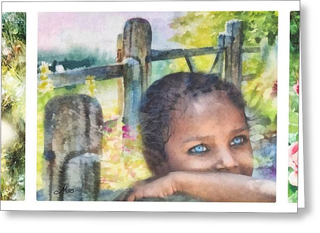 Wishes Greeting Cards - Childhood Triptic Greeting Card by Mo T