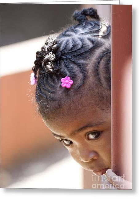 Braided Hair Greeting Cards - Childlike Curiosity Greeting Card by Heiko Koehrer-Wagner