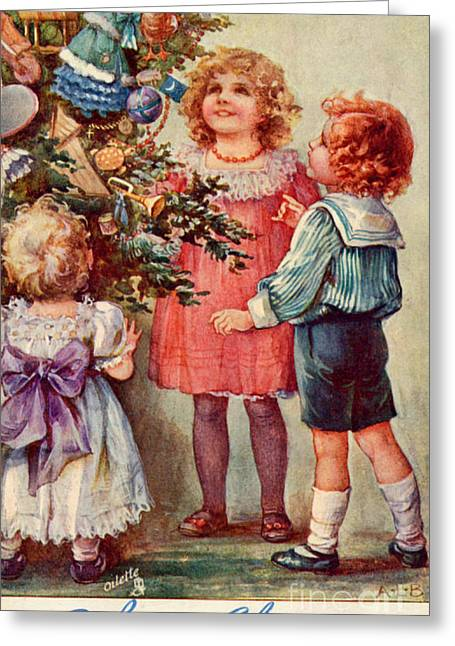 Special Occasion Greeting Cards - Children Admiring Christmas Tree Greeting Card by Mary Evans