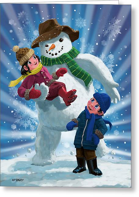 Playing Digital Greeting Cards - Children and Snowman playing together Greeting Card by Martin Davey