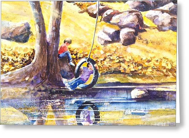 Autumn Leaf On Water Paintings Greeting Cards - Children and the  Old Tire Swing Greeting Card by Reveille Kennedy