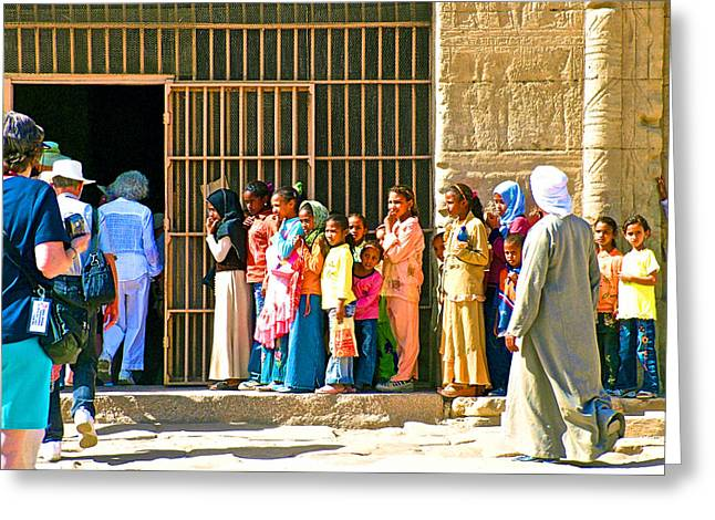 Hathor Greeting Cards - Children and Tourists at Entry to Temple of Hathor in Dendera-Egypt copy Greeting Card by Ruth Hager