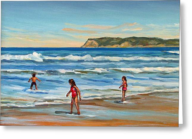 Seacape Greeting Cards - Children at Play Coronado Beach Greeting Card by Robert Gerdes