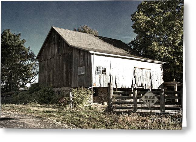 Barn Door Greeting Cards - Children at Play Greeting Card by Tom Gari Gallery-Three-Photography
