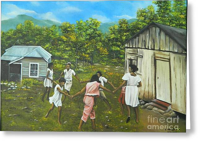 Barn Yard Greeting Cards - Children at Play Greeting Card by Kenneth Harris