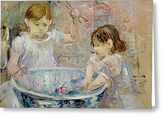 Children at the Basin Greeting Card by Berthe Morisot