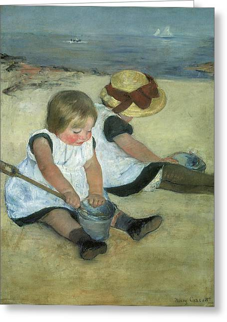 Children At Beach Greeting Cards - Children at the Seashore Greeting Card by Mary Cassatt