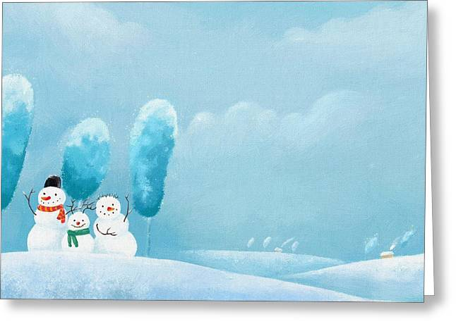 New Year Greeting Cards - Children Christmas Greeting Card by Victor Gladkiy