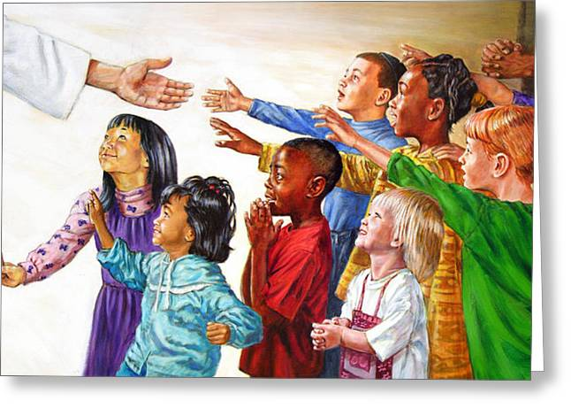 Child Jesus Greeting Cards - Children Coming to Jesus Greeting Card by John Lautermilch