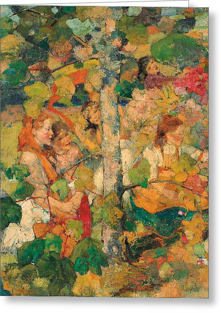 Colors Of Autumn Greeting Cards - Children Dancing Around a Tree Greeting Card by Edward Atkinson Hornel