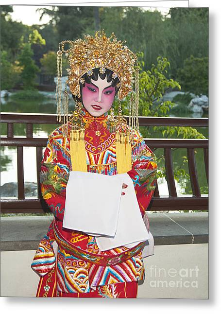 Escort Girl Greeting Cards - Children dressed in full traditional Chinese Opera costumes. Greeting Card by Jamie Pham